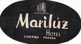 BRASIL CURITIBA PARANA MARILUZ HOTEL VINTAGE LUGGAGE LABEL - Hotel Labels