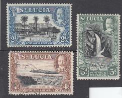 St Lucia 1936   21/2d, 3d, 4d  Used  SG 117, 118, 119 - St.Lucia (...-1978)