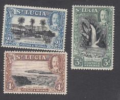 St Lucia 1936   21/2d, 3d, 4d  MH  SG 117, 118, 119 - St.Lucia (...-1978)