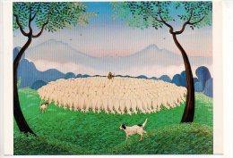 REF 168 : CPM Peinture Naive Berger Et Son Troupeau De Moutons Chien De Berger - Agricoltura