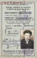 CARTE D'IDENTITE DE FAMILLE NOMBREUSE WORMHOUT 59 NORD P.L.M. CARTE DE TRANSPORT REDUCTION DE BILLETS - Unclassified