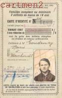 CARTE D'IDENTITE DE FAMILLE NOMBREUSE WORMHOUT 59 NORD P.L.M. CARTE DE TRANSPORT REDUCTION DE BILLETS - Non Classés
