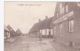 CARTE POSTALE 59 NORD LYNDE BEAU VISUEL ANIMEE RUE WALLON CAPPEL CAFE COMMERCE FACADE A VOIR - France