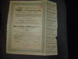 """Bon De Caisse""""S.A. Belge Des Tôleries De Konstantinowka""""Bruxelles 1911 Reste Des Coupons - Russie"""