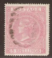 Grande-Bretagne (GB) Victoria 1867 - 5 Sh Rose Pl.2  - Sc#57 Cote 975$ - Pli Vertical (voir Scan) - 1840-1901 (Victoria)