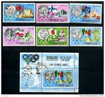 SHARJAH Jeux De Mexico  Série Complète + BF Oblit. - Estate 1968: Messico