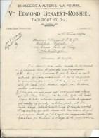 """TORHOUT. Brasserie-Malterie """"La Pomme"""".Vve Edmond Bekaert-Rosseel Thourout (1927)- 6 Doc.-fakturen - Old Professions"""