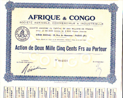 ACTION 2500 FRANCS - AFRIQUE ET CONGO -  1907 - Agriculture
