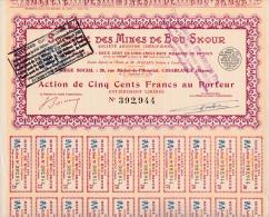 ACTION DE 500 FRANCS - SOCIETE DES MINES DE BOU - SKOUR - MAROC - Bergbau