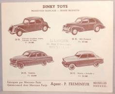 Publicité. Auto Dinky Toys. Meccano. Cachet Larcier Rue D'Arenberg Bruxelles. - Publicidad