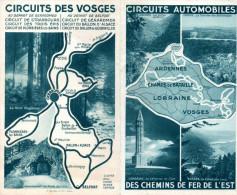 Dépliant Des Ed. Chemins De Fer De L'Est. Circuits Automobiles : Ardennes, Lorraine, Vosges Et Champs De Bataille. - Voitures