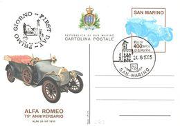 "INTERO POSTALE 75° ANNIVERSARIO ALFA ROMEO 1985 - L. 400 - CATALOGO FILAGRANO ""C62"" - FDC - Postwaardestukken"
