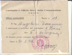 DE98:1941 CHIETI UFFICIO COMBUSTIBILI-RICEVUTA Ritiro CARBURANTE Da CONSIGLIO E UFFICIO CORPORAZIONI-timbro ROSSO - Historische Dokumente
