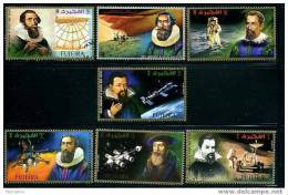 FUJEIRA Historical Astronomers And Space Exploration Set Of 7 Used - Astronomy