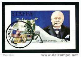 STAFFA (SCOTLAND)  1972 Winston échurchill And Apollo XV Lunar Module  Souvenir Sheet - Local Issues