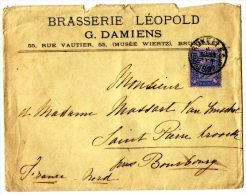 Belgique-Lettre Circulée En 1892 Timbre 25  Léopold Ii ( Brasserie Léopold .G.Damiens) - 1884-1891 Leopold II