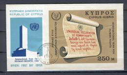 Cyprus 1968 (Vl 127-128) International Human Rights Year MS FDC - Chypre (République)