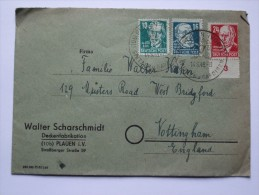 GERMANY ALLIED COVER RUSSIAN ZONE 1949  WITH PLAUEN SONDERSTEMPEL TO ENGLAND - Zone Soviétique