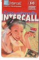 CARTE-PREPAYEE-50F-31/12/ 2002-INTERCALL-FEMME Dans BULLE TELEPHONANT-TBE- - France