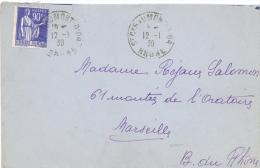 Enveloppe 1939 St Cyr Au Mont D'Or Pour Marseille , Affr. 90c  Type Paix YT 368  / OMEC  Flier En Arrivée - Lettres & Documents