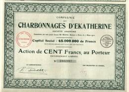 COMPAGNIE DES CHARBONNAGES D'EKATHERINE-ACTION DE CENT FRANCS,AU PORTEUR-PARIS 7-3-1910 - Mines