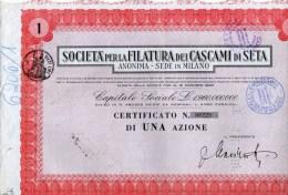 SOCIETA´ PER LA FILATURA DEI CASCAMI DI SETA-MILANO-CERTIFICATO N. 00229- DI UNA AZIONE - Textile