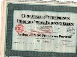 COMPAGNIE D'ENTREPRISES IMMOBILIERES & INDUSTRIELLES-ACTION DE 200 FRANCS - Industrie