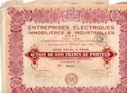 ENTERPRISES ELECTRIQUES IMMOBILIERES &INDUSTIELLES -PARIS-ACTION DE 500 FRANCS AU PORTEUR - Industrie