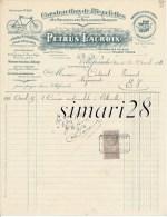 PETRUS LACROIX - CONSTRUCTION DE BICYCLETTES + MACHINES A COUDRE OMEGA -  VILLEFRANCHE RHONE - LE 30/04/1911 - Transports