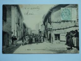 C P A ANIMEE ANNEES DE  1908 RUE CHARBONNERIE SORTIE D'USINE  DU VILLAGE DE BOEN - Francia
