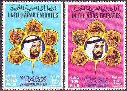 UAE -   NATIONAL DAY - TANK - TRACTOR - SHIPS - FRUITS - BRIDGE  - **MNH - 1976 - Emiratos Árabes Unidos