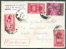 Lettre De SAIGON Vietnam (ambassade Du Japon) Par Avion Le 31-1-1954 Vers Uccle, Bruxelles - 7466 - Viêt-Nam