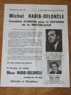 MAI 1968 TRACT ELECTION LEGISLATIVE 23 JUIN 68 CIRCONSCRIPTION AUTEUIL PARIS HABIB DELONCLE UNION DEFENSE DE REPUBLIQUE - Documents Historiques