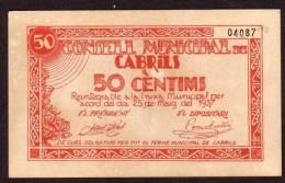 ESPAGNE - 50 Centimos Du 25 05 1937 - Guerre Civile à : CABRILS - [ 3] 1936-1975 : Regency Of Franco