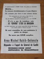 MAI 1968 TRACT ELECTIONS LEGISLATIVES 23 JUIN 68 HABIB DELONCLE GENERAL DE GAULLE PARIS 16 - Documentos Históricos