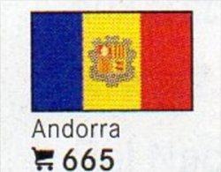 6 Coins+Flaggen-Sticker In Farbe Andorra 4€ Kennzeichnung Von Alben Karten Sammlung LINDNER 665 Flag Of FT Espana/France - Andorre