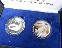 China 2 X 10 Yuan 1988 Bird, Dolphins Silver Proof - China