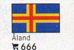 6 Coins + Flaggen-Sticker In Farbe Äland 4€ Kennzeichnung Von Alben Karten Sammlungen LINDNER 666 Flags Isle Of Finlande - Finland