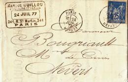 FRANCE  Lettre  1877   A ETUDIER ( Scan Recyo / Verso ) - Poststempel (Briefe)
