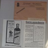 Carta Assorbente/buvard + Busta CHINA-GUACCI AntimalaricoTonico Ricostituente Eupeptico NAPOLI - Blotters