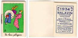 Petit Carnet De Poche, Calendrier 1934, Salavin, Chocolatier Confiseur, Paris, Clowns (plongeon), Signé Dubosc ? - Calendriers