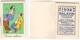 Petit Carnet De Poche, Calendrier 1934, Salavin, Chocolatier Confiseur, Paris, Clowns (vin), Signé Dubosc ? - Kalenders