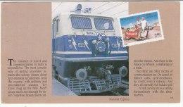 Romance Of Travel, Railways, Train, Locomotives, Camel Transport, Cycle Rickshaws, A Leaf From Booklet, 1989 - Trenes