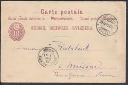 SUISSE - 1882 -  CARTE ENTIER POSTAL DE NEUCHATEL POUR MOISSAC - - Entiers Postaux