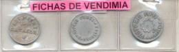 3 FICHAS DE VENDIMIA DIFERENTES VENDANGE TOKEN VIGNE VIGNES PARRA PARRAL RECOLECCION DE UVAS - Monetary /of Necessity
