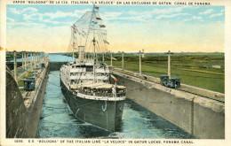 AK S.S. Bologna Ca. 1940 (?) Gatun Locks Panama Canal SS Schiff Dampfer Ship Steamer Vapor Line La Veloce - Paquebots