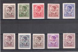 "Jugoslavia 1939-40. Francobolli (10) Soprastampati ""Governatorato Del Montenegro - Valore Lire"". - Nuovi"