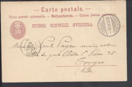 SUISSE - 1885 -  CARTE ENTIER POSTAL DE PORRENTRUY POUR TROYES - FR - - Entiers Postaux