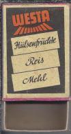 Luciferdoosje.- WESTA - Hülsenfrüchte Reis Mehl.  - Boite D'allumettes, Matchbox, Matches. 2 Scans - Zündholzschachteln