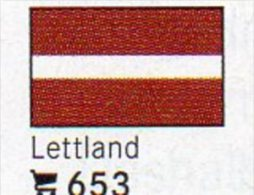 6 Coins+Flaggen-Sticker In Farbe Lettland 4€ Zur Kennzeichnung Von Alben Karten/Sammlungen LINDNER #653 Flags Of Latvija - Letonia